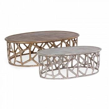 Composizione di 2 Tavolini da Salotto in Alluminio Homemotion - Solomon
