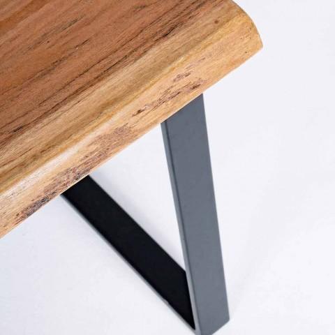 Composizione di 2 Tavolini da Salotto in Legno e Acciaio Homemotion - Artur