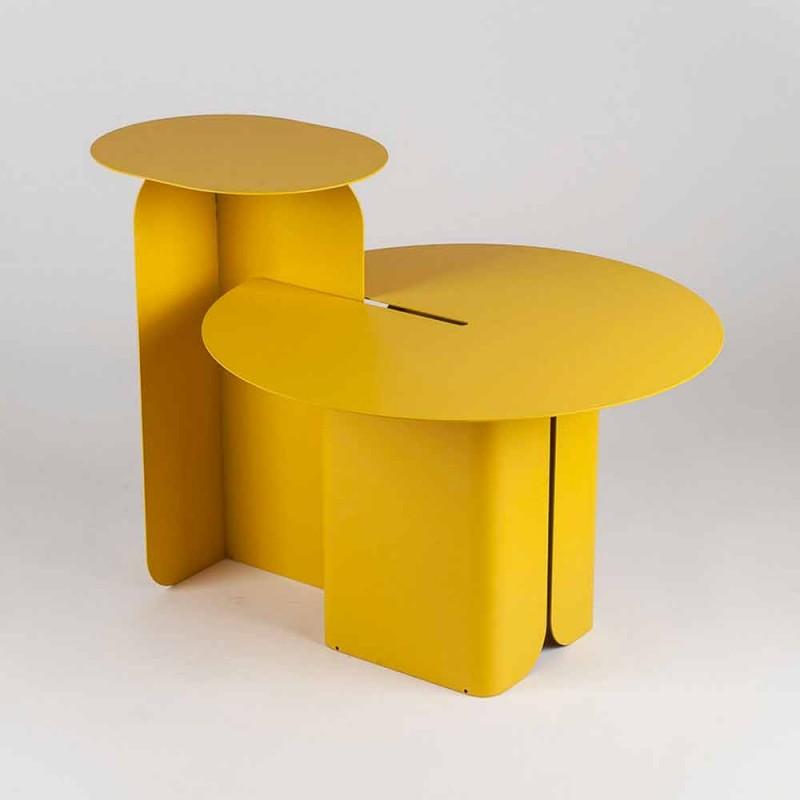 Composizione di 2 Tavolini da Salotto Moderni in Acciaio Made in Italy - Pioppo