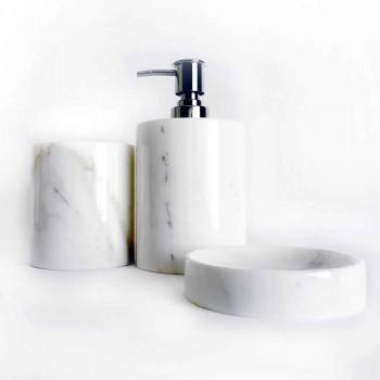 Composizione di 3 Accessori Bagno in Marmo Lucido Made in Italy - Trevio