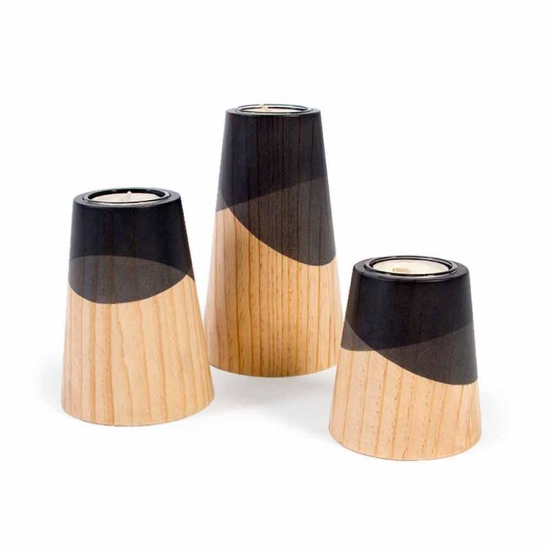 Composizione di 3 Portacandele Moderni in Legno Massello di Pino - Candore