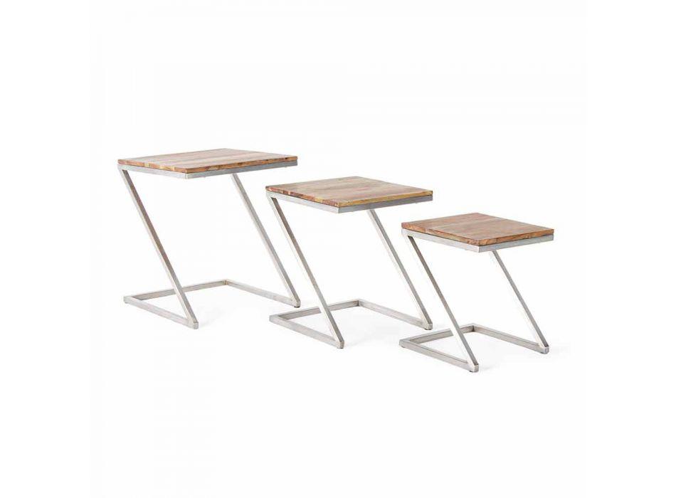Composizione di 3 Tavolini da Salotto Quadrati in Legno Homemotion - Fonzi