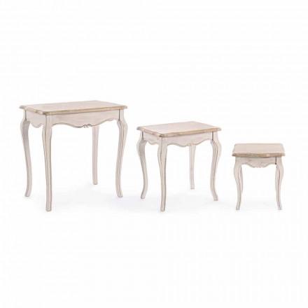 Composizione di 3 Tavolini di Design Classico in Legno Homemotion - Classico