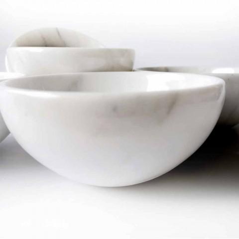 Composizione di 4 Ciotole in Marmo Bianco di Carrara Made in Italy - Cremina