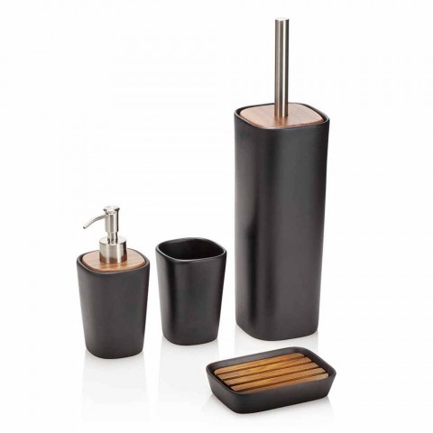 Composizione di Accessori da Bagno in Ceramica, Legno e Metallo - Semino