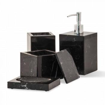 Composizione di Accessori da Bagno in Marmo Made in Italy, 4 Pezzi - Deano