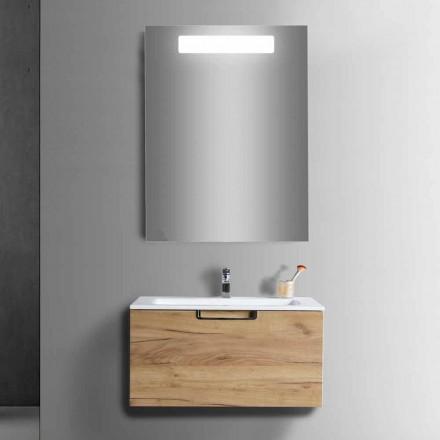 Composizione Mobile Lavabo Bagno in Legno e Specchio Design Moderno - Gualtiero