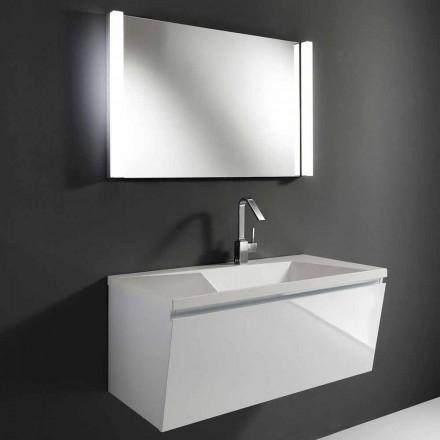 Composizione Mobili Bagno Sospesa Moderna Bianca con Specchio a LED - Desideria