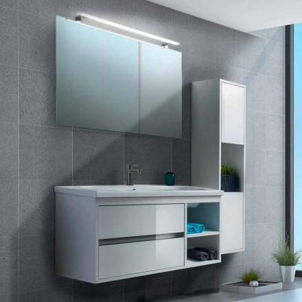 Mobile Bagno 100 cm, Specchio, Lavabo e Colonna – Becky