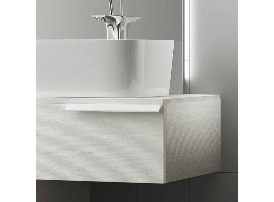 Composizione mobili bagno sospesa moderna legno laccato lucido Happy
