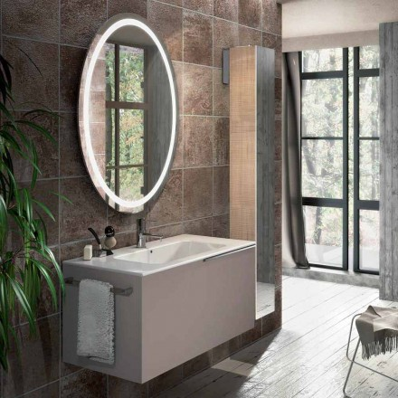 Composizione mobili sospesi da bagno di design in ecolegno Genova