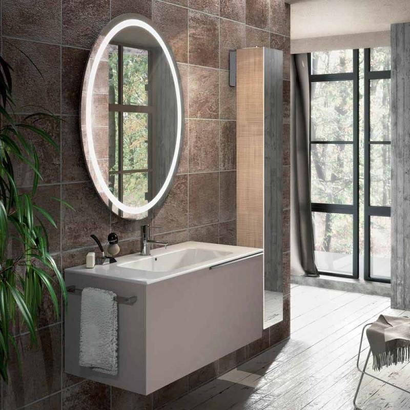 Composizione mobili sospesi da bagno in legno design made Italy Genova