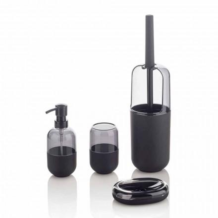 Composizione Moderna di Accessori Bagno in Plastica e Gomma Nera - Noto