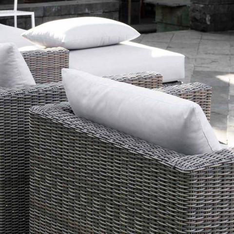 Composizione salotto da esterno con struttura intrecciata a mano Rita
