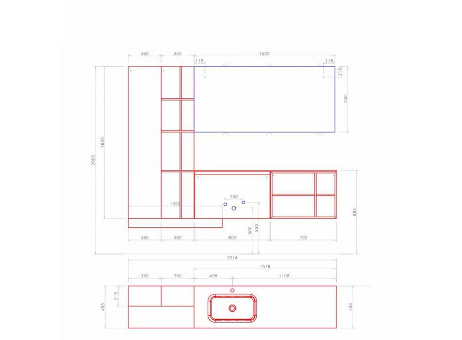 Composizione Sospesa d'Arredo Bagno dal Design Moderno Made in Italy - Callisi15