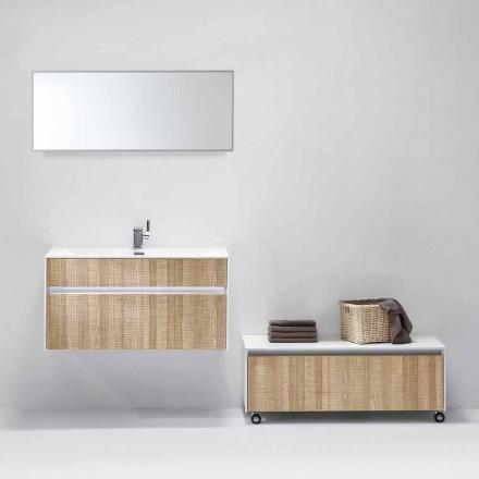Composizione Sospesa di Mobili da Bagno con Specchio Design Moderno - Rossella