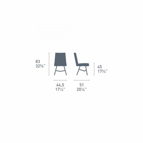 Connubia Calligaris Academy sedia design moderno made in Italy, 2 pz