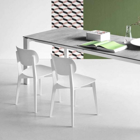Connubia Calligaris Robinson sedia legno massello Made in Italy, 2 pz