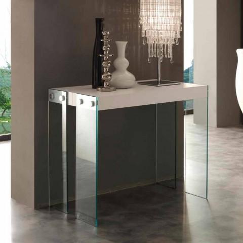 Console allungabile design moderno con gambe in vetro temperato Miss