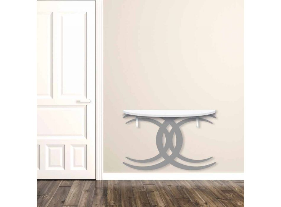 Consolle a Fissaggio a Parete di Design Moderno in Legno Bianco e Grigio - Coco