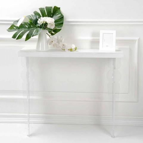 Consolle a Parete Piano in Legno Grigio Bianco o Corten e Plexiglass - Leopardi