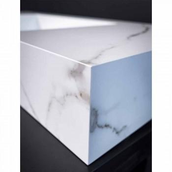 Consolle Bagno Lavabo Integrato e Mensola Sospese in Gres 4 Finiture - Rampina