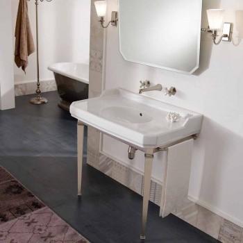 Consolle Bagno Vintage 90 cm, Ceramica Bianca, con Piedi Made in Italy - Nausica