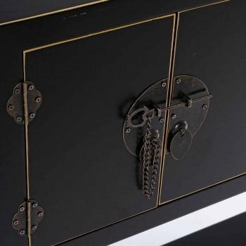 Consolle Bianca o Nera in Mdf a 2 Ante e 6 Cassetti Design Vintage - Ginepro
