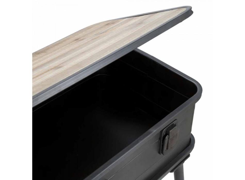 Consolle con Contenitore Design Moderno in Ferro e Legno - Gomes
