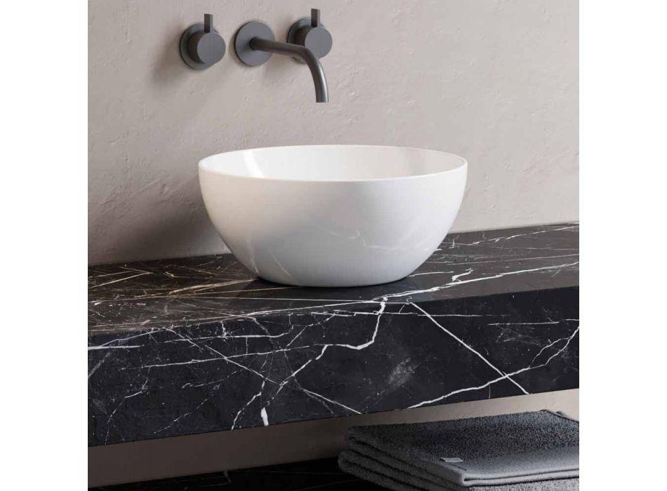 Consolle da Bagno con Lavabo e Mensola in Gres Porcellanato 4 Finiture - Ramina