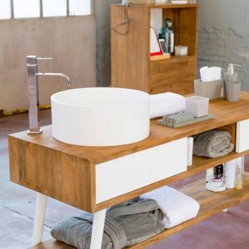 Consolle da bagno di design moderno da terra in teak naturale Pistoia
