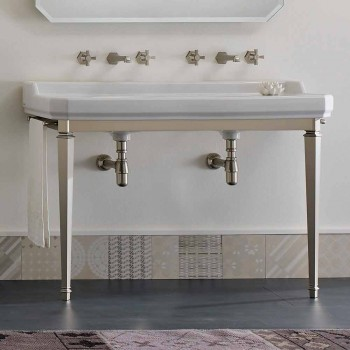 Consolle da Bagno L 135 cm con Vasca Doppia in Ceramica Made in Italy – Nausica