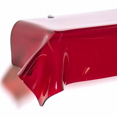 Consolle design moderno in plexiglass rosso traspar. drappeggiato Wish