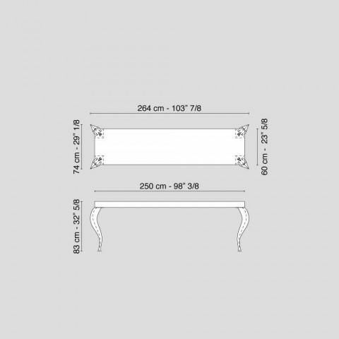 Consolle di design a quattro gambe in MDF e acciaio Luigi