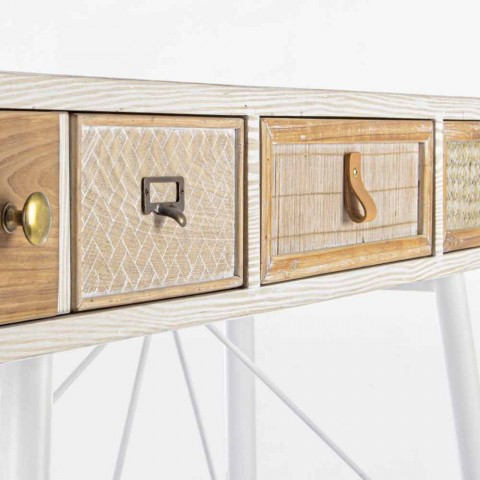 Consolle di Design Etnico in Mdf e Acciaio con 3 Cassetti Decorati - Paprika