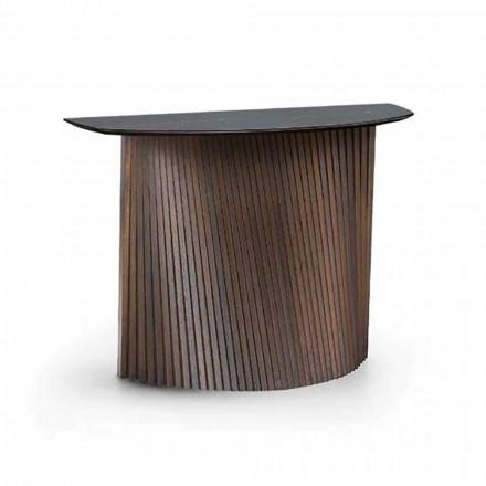 Consolle di Lusso in Legno con Piano in Gres Marmo Made in Italy - Oxide