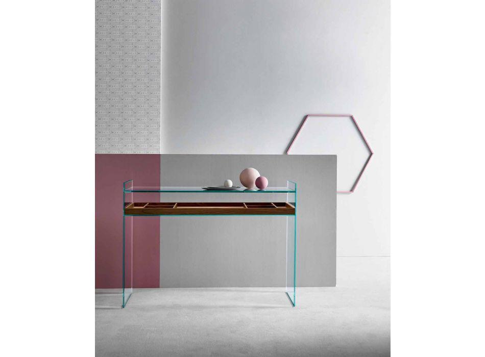 Consolle di Design in Vetro Extrachiaro con Vassoio Made in Italy – Imperativo