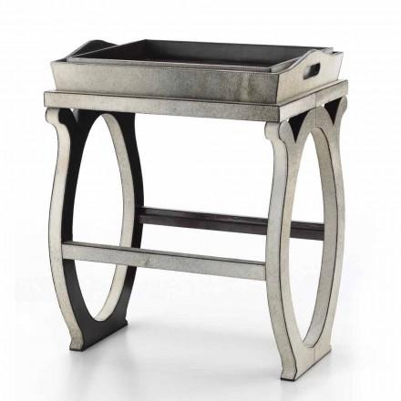 Consolle di design moderno con vassoio in cavallino grigio Felicia