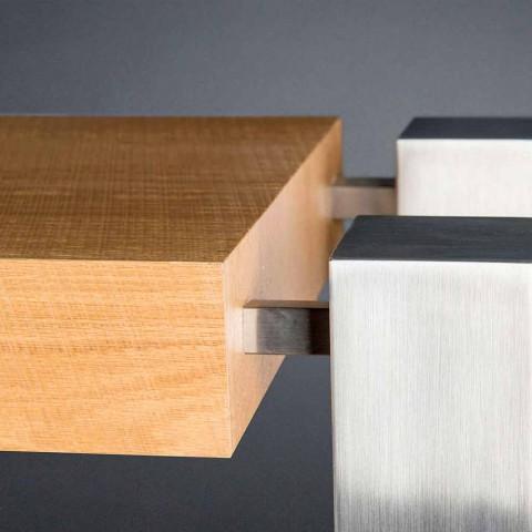 Consolle di design rettangolare doppio ripiano in legno di rovere Aida