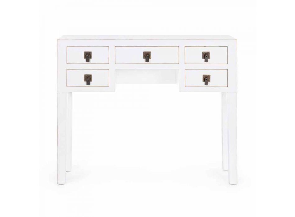 Consolle di Design Vintage ed Elegante in MDF Bianco con 5 Cassetti - Ginepro