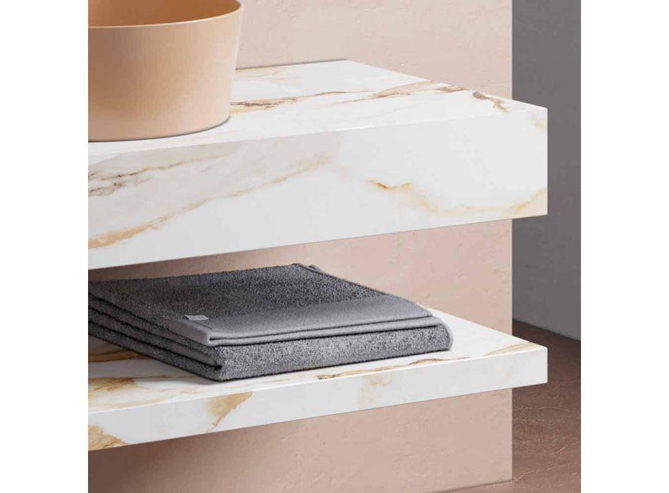Consolle e Mensola da Bagno in Gres e Lavabo in Vetrochina, 4 Colori - Rametina