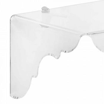 Consolle fissa a muro in plexiglass trasparente Bianca, made in Italy
