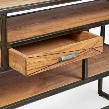 Consolle in Legno d'Acacia e Acciaio con Cassetto Design Homemotion - Cristoforo