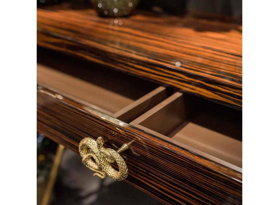 Consolle in legno di ebano lucido con cassetti scorrevoli Ada 4
