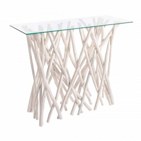 Consolle in Legno di Teak Sbiancato e Piano in Vetro Design di Lusso - Francesca