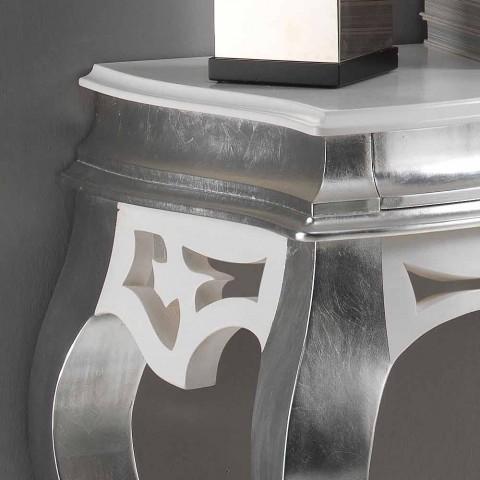 Consolle in legno stile classico, finitura argento e bianco Creti