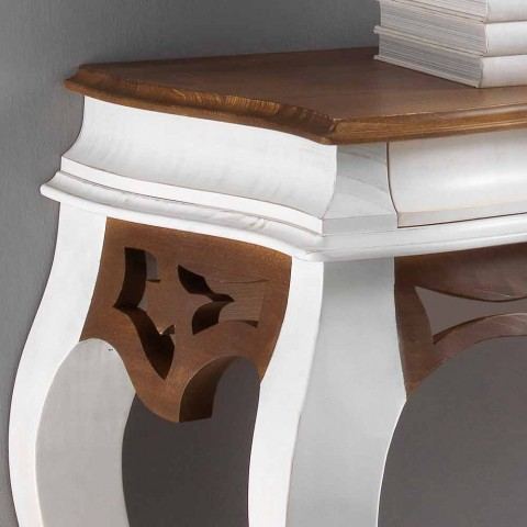 Consolle in legno stile classico, finitura bianco antico e noce Creti