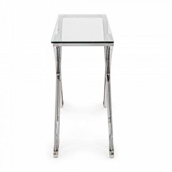 Consolle in Vetro Temperato e Base in Acciaio Design Moderno Homemotion - Zafira