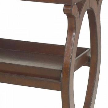 Consolle moderna con vassoio Walter, rivestimento in cuoio marrone