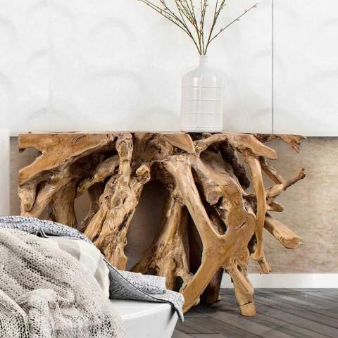 Consolle Moderna di Design di Lusso in Radici di Legno Teak Naturale - Carrubo